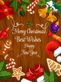 Wesoło boże narodzenia, nowy rok życzą kartka z pozdrowieniami ilustracja wektor