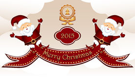 Wesoło boże narodzenia Pocztówkowi z dwa Santa klauzula Zdjęcia Stock
