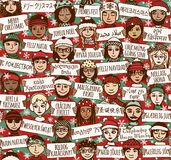 Wesoło boże narodzenia podpisują wewnątrz różnych języki - barwi wersję royalty ilustracja