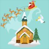 Wesoło boże narodzenia, szczęśliwa nowy rok karta, kościół i zieleni drzewo pod, śniegiem, chrześcijaństwem i katolik zimą, kated royalty ilustracja