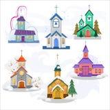 Wesoło boże narodzenia, szczęśliwa nowy rok karta, kościół i zieleni drzewo pod, śniegiem, chrześcijaństwem i katolik zimą, miast royalty ilustracja