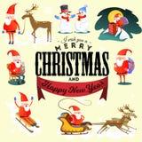 Wesoło boże narodzenia, szczęśliwa nowy rok karta, kościół i zieleni drzewo pod, śniegiem, chrześcijaństwem i katolik zimą, miast ilustracji