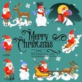Wesoło boże narodzenia, szczęśliwa nowy rok karta, kościół i zieleni drzewo pod, śniegiem, chrześcijaństwem i katolik zimą, miast ilustracja wektor