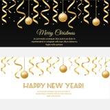 Wesoło boże narodzenia, szczęśliwego nowego roku horyzontalni sztandary z złotymi streamers i baubles, ilustracji