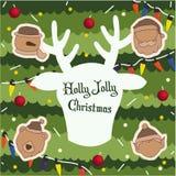 Wesoło boże narodzenia, Szczęśliwy nowego roku tło, Święty Mikołaj i R, ilustracja wektor