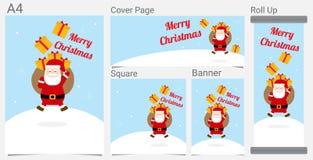 Wesoło boże narodzenia, Szczęśliwy nowy rok Śmieszny Święty Mikołaj i Tasiemkowa prezent kreskówka dla strona internetowa sztanda ilustracji