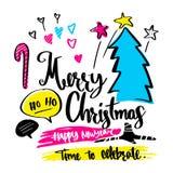Wesoło boże narodzenia, Szczęśliwy nowy rok i elementy, ilustracja ve Obrazy Royalty Free