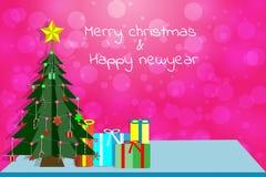 Wesoło boże narodzenia & Szczęśliwy nowy rok z bokeh i choinką, Zdjęcie Stock