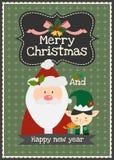 Wesoło boże narodzenia wektorowy Santa z elfa charakteru kartka z pozdrowieniami Zdjęcia Royalty Free