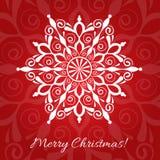 Wesoło boże narodzenia wita czerwonego tło z koronkowym płatek śniegu royalty ilustracja