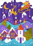 Wesoło boże narodzenia wita ilustrację halny śnieżny krajobraz z Santas latającym reniferowym saniem ilustracji