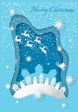 Wesoło boże narodzenia Wita na karcie z Czarodziejską zimą royalty ilustracja