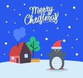 Wesoło boże narodzenia Wita Plakatowego pingwinu wektor ilustracja wektor