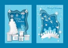 Wesoło boże narodzenia Wita pocztówki z domami ilustracja wektor