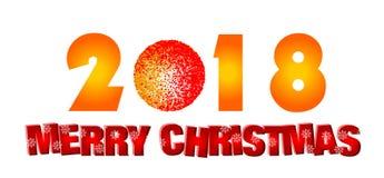 Wesoło boże narodzenia 2018 wita teksta projekta ikon na białym tle ilustracji