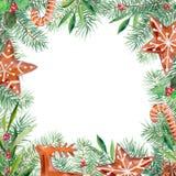 Wesoło boże narodzenia wzory, miodownik, firtree, oliwka, holly granica Akwareli ilustraci handdrawn rama royalty ilustracja