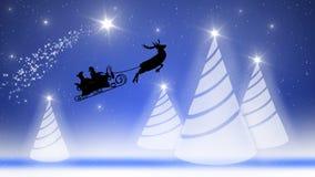 Wesoło boże narodzenia z Święty Mikołaj, renifer, drzewo Zdjęcia Stock