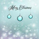 Wesoło boże narodzenia z błękitnymi ornamentami Obraz Stock