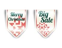 Wesoło Boże Narodzenia - z czerwonym płatek śniegu duży sprzedaż Obraz Royalty Free