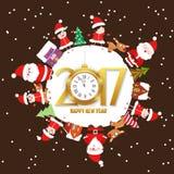 Wesoło boże narodzenia 2017 z, szczęśliwy nowy rok i royalty ilustracja
