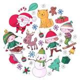 Wesoło bożych narodzeń świętowanie z dziećmi Dzieciaki rysuje ilustrację z nartą, prezenty, Święty Mikołaj, bałwan Chłopiec i ilustracja wektor