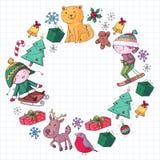 Wesoło bożych narodzeń świętowanie z dziećmi Dzieciaki rysuje ilustrację z nartą, prezenty, Święty Mikołaj, bałwan Chłopiec i royalty ilustracja