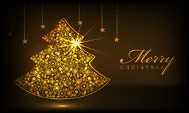 Wesoło bożych narodzeń świętowanie z Xmas drzewem royalty ilustracja