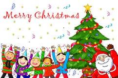 Wesoło bożych narodzeń Święty Mikołaj choinki świętowania ludzie Obraz Royalty Free