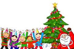 Wesoło bożych narodzeń Święty Mikołaj choinki świętowania ludzie Zdjęcie Stock