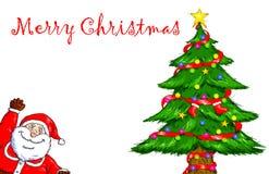 Wesoło bożych narodzeń Święty Mikołaj choinki świętowanie Fotografia Stock