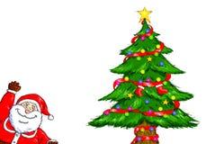Wesoło bożych narodzeń Święty Mikołaj choinki świętowanie Fotografia Royalty Free