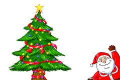 Wesoło bożych narodzeń Święty Mikołaj choinki świętowanie Obrazy Stock