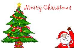 Wesoło bożych narodzeń Święty Mikołaj choinki świętowanie Obraz Royalty Free