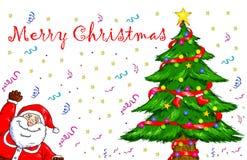 Wesoło bożych narodzeń Święty Mikołaj choinki świętowanie Obraz Stock