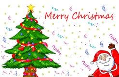Wesoło bożych narodzeń Święty Mikołaj choinki świętowanie Zdjęcia Stock
