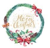 Wesoło bożych narodzeń akwareli karty z kwiecistymi elementami Szczęśliwi nowego roku literowania plakaty Zimy xmas gałąź i kwiat royalty ilustracja
