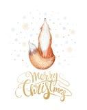 Wesoło bożych narodzeń akwareli literowanie z watercolour zabawy lisem royalty ilustracja