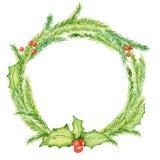 Wesoło bożych narodzeń akwareli wianki z kwiecistymi zima elementami Szczęśliwa nowy rok karta, plakaty Obrazy Stock