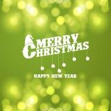 Wesoło bożych narodzeń Bokeh Zielony tło ilustracja wektor
