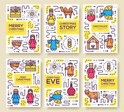 Wesoło bożych narodzeń broszurki wektorowe karty ustawiać narodziny Chrystus szablon ulotka, magazyny, plakaty, książkowa pokrywa royalty ilustracja