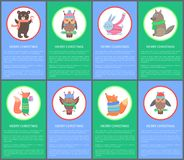 Wesoło bożych narodzeń Congrat pocztówki Kolorowi zwierzęta Zdjęcie Stock
