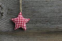 Wesoło bożych narodzeń dekoraci Gingham tkaniny gwiazda Fotografia Royalty Free