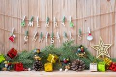 Wesoło bożych narodzeń dekoracji przyjęcia przygotowanie dla wakacyjnego pojęcia, Szczęśliwy nowy rok obraz royalty free