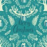 Wesoło bożych narodzeń drzew Biały tło royalty ilustracja