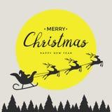 Wesoło bożych narodzeń elementów Święty Mikołaj jazda w saniu z reniferem Zdjęcia Royalty Free