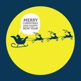 Wesoło bożych narodzeń elementów Święty Mikołaj jazda w saniu z reniferem Fotografia Royalty Free