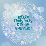 Wesoło bożych narodzeń i nowego roku ilustracja z wiankiem Zdjęcie Royalty Free