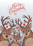 Wesoło bożych narodzeń i nowego roku tło z reniferami ilustracja wektor