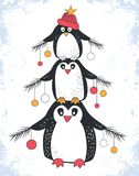 Wesoło bożych narodzeń i nowego roku tło z reniferami ilustracji