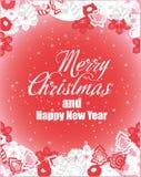 Wesoło bożych narodzeń i nowego roku wektoru karta Żniwa fest projekt doskonalić dla druków, ulotki, sztandary, zaproszenia, prom ilustracji